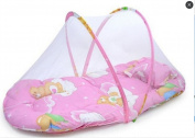 Hosaire 1X Small Baby Infant Bed Mosquito Net Cotton-padded Mattress Pillow Tent Foldable Pink