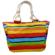 ashdown Womens Large Summer Beach Tote Canvas Bags Shopper Handbags Coloured stripes Shoulder Bag