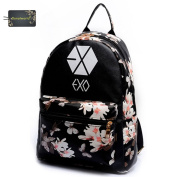 Donalworld Girl Casual Flower Print PU Leather Women Backpacks School Bags Large EXOBlack