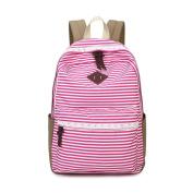 JSbetter Stripe Canvas Backpack,Lady Girls Canvas Navy Backpack Laptop Bag Shoulder Daypack School Backpack Causal Handbag Travel Bag for Teens Girls Boys,Pink