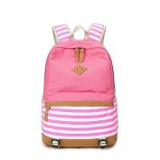 JSbetter Canvas Backpack,Lady Girls Canvas Striped Navy Backpack Laptop Bag Shoulder Daypack School Backpack Causal Handbag Travel Bag,Pink