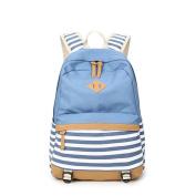 JSbetter Canvas Backpack,Lady Girls Canvas Striped Navy Backpack Laptop Bag Shoulder Daypack School Backpack Causal Handbag Travel Bag,Light Blue