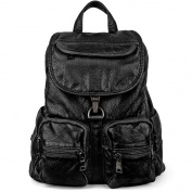 UTO Women Faux Leather Backpack Purse Ladies PU Shoulder Bag Black