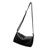 Moonsister Simple Casual Women Girls Genuine Leather Shoulder Bag, Black Small Mini Practical Everyday Crossbody Bag