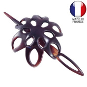 Bun Cover Hair Accessories Bun 3.5 Flower with Diameter 7 cm MADE IN FRANCE-Brown