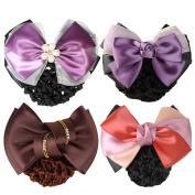 kilofly 4pc Women's Two-Way Snood Net Bow Barrette Hair Clip Bun Cover Set
