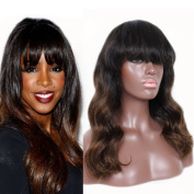 100% Brazilian Remy Human Hair Lace Wigs Body Wave Lace Front Wigs with Bangs Natural Looking Free Part Style Two Tone Wig Colour 1b/30