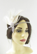 Ivory Cream Silver Feather Headdress Headband 1920s Flapper Great Gatsby Vtg 330 *EXCLUSIVELY SOLD BY STARCROSSED BEAUTY*