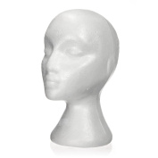 Mannequin head - TOOGOO(R) 27.5 x 52cm Dummy / mannequin head Female Foam(Polystyrene) Exhibitor for cap, headphones, hair accessories and wigs Woman Mannequin Foam