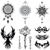 COKOHAPPY Temporary Tattoo , 6 Different Sheets Sanskrit Lotus Dream-Catcher Phoenix ( One-set ) for Men Women