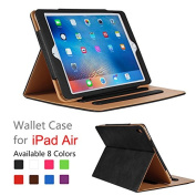 iPad Air Case - Leather Stand Folio Case Cover for Apple iPad Air Case with Multiple Viewing Angles, Document Card Pocket
