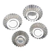 TININNA 20 Pcs Silver Tone Aluminium Egg Tart Mould Mould Makers Cupcake Cake Cookie Mould Base Tart Tins Baking Tool 6.5cm