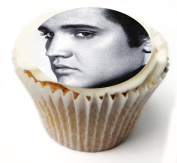 Elvis Presley 24 x PRE-CUT Fairy cake CUPCAKE Edible Topper Decorations Printed On Premium quality Edible Wafer Rice Paper