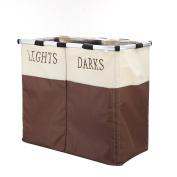 IHOMAGIC Large 2 Section Lights & Darks Laundry Basket, Foldable Laundry Basket Hamper, Storage Washing Basket Sorter
