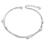 Sweetiee Woman 925 Sterling Silver Layered Anklet with Hearts and Small Beads Platinum 210mm