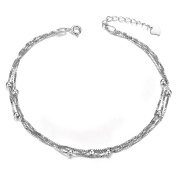 Sweetiee Woman 925 Sterling Silver Layered Anklets with Small Beads Platinum 210mm