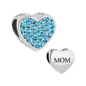 Uniqueen Jewellery New Style Birthstone Mum Mom Heart Charms Beads with Crystal Sale Cheap Bead Fit Pandora Bracelet