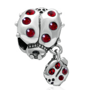 Mother and Baby 925 Sterling Silver Ladybird Charm Bead with Red CZ Fit European Charm Bracelets