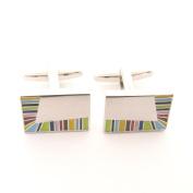 Multicoloured Stripe Cufflinks by Van Buck