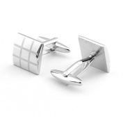 CMJ Silver Square Cuff Links Mens Cufflinks Prom Formal Business Dress in gift bag UK Seller