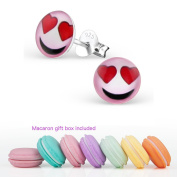 CuteCachoo - Mini macaron gift box included! Childrens smiley emoji earrings with heart eyes. Quality sterling silver ear studs for kids or adults