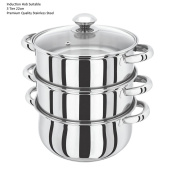 22CM 3 Tier Stainless Steel Induction Hob Steamer