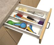 2 Snap Fit Drawer Dividers Kitchen Organiser Universal Silverware Tools Junk Pen by IdeaWorks