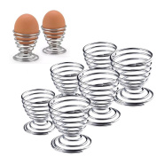 6 x Silver Stainless Steel Spring Spiral Stand Holder for Egg Kitchen Breakfast Boiled Egg Wire Tray Storage