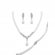 Fine Wedding Bridal Jewellery Set Necklace, Bracelet and Earring Jewellery Set White Pearls with Clear Crystal