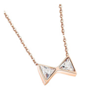 LALOPEZ Womens Rose Gold Plated Bow Ribbon Zircon Chain Clavicle Pendant Necklace,2 Colours