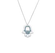 Remi Bijou - 925 Sterling Silver Necklace and Pendant Fatima Hand Hamsa Hand Turquoise Buddha Eye
