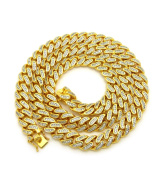 12 mm 76 cm Cubic Zirconia Gold Plated Miami Cuban Chain Necklace
