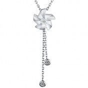 Sterling Silver Windmill Flower Pendant Necklace Costume Jewellery for Women 46cm