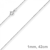 1 mm Diamond Cut Ball Chain Gold Necklace made of 750 white gold 42 cm