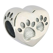 Mother's Day Gifts Love Heart Dog Paw Puppy Bone 925 Sterling Silver Charms Pendant Animal Pet Bead for Snake Bracelets Jewellery