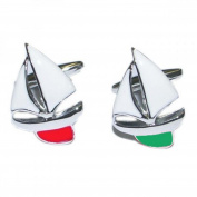 Mens Shirt Accessories - Red And Green Port And Starboard Yachts Cufflinks (With Black Presentation Box) - Novelty Transport Theme Jewellery