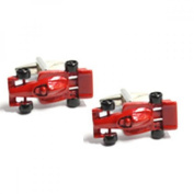 Mens Shirt Accessories - Red Racing Car F1 Cufflinks (With Black Presentation Box) - Novelty Transport Theme Jewellery