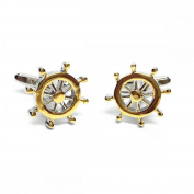 Mens Shirt Accessories - Two Tone Ships Wheel Cufflinks (With Black Presentation Box) - Novelty Transport Theme Jewellery