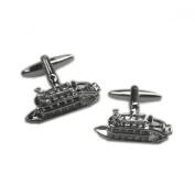 Mens Shirt Accessories - Paddle Steamer Cufflinks (With Black Presentation Box) - Novelty Transport Theme Jewellery