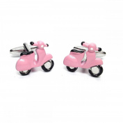 Mens Shirt Accessories - Pink Scooter Cufflinks (With Black Presentation Box) - Novelty Transport Theme Jewellery