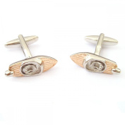 Mens Shirt Accessories - Two Tone Silver And Rose Gold Retro Speedboat Cufflinks (With Black Presentation Box) - Novelty Transport Theme Jewellery