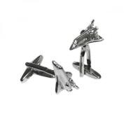Mens Shirt Accessories - Space Shuttle Cufflinks (With Black Presentation Box) - Novelty Transport Theme Jewellery