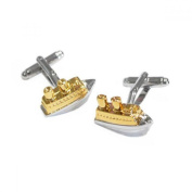 Mens Shirt Accessories - Two Tone Cruise Ship Sailors Cufflinks (With Black Presentation Box) - Novelty Transport Theme Jewellery