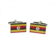 Mens Shirt Accessories - Uganda Flag Cufflinks (With Black Presentation Box) - Novelty World Flag Theme Jewellery