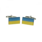 Mens Shirt Accessories - Ukraine Flag Cufflinks (With Black Presentation Box) - Novelty World Flag Theme Jewellery