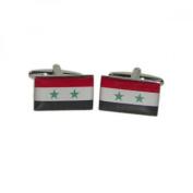 Mens Shirt Accessories - Syria Flag Cuflinks (With Black Presentation Box) - Novelty World Flag Theme Jewellery