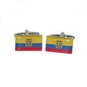 Mens Shirt Accessories - Ecuador Flag Cufflinks (With Black Presentation Box) - Novelty World Flag Theme Jewellery