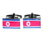 Mens Shirt Accessories - Korea DPR Flag Cufflinks (With Black Presentation Box) - Novelty World Flag Theme Jewellery