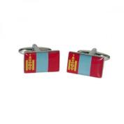 Mens Shirt Accessories - Mongolia Flag Cufflinks (With Black Presentation Box) - Novelty World Flag Theme Jewellery