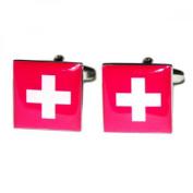 Mens Shirt Accessories - Switzerland Flag Cufflinks (With Black Presentation Box) - Novelty World Flag Theme Jewellery